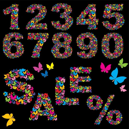 Butterfly numerals, word SALE and percent symbol - elements for summer sale design Stock Vector - 14007074