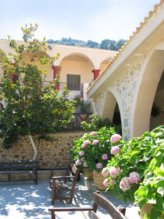 Greece, Crete, beautiful courtyard in female abbey
