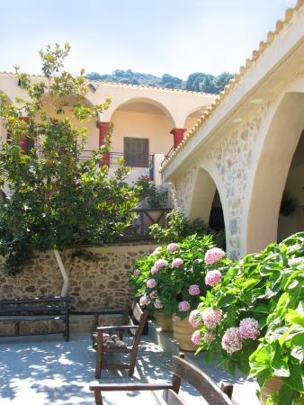 Greece, Crete, beautiful courtyard in female abbey