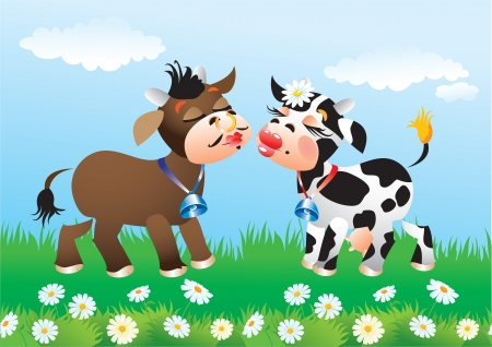 spotted flower: Cartoon kissing cows in love