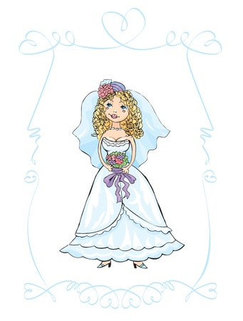 wedding picture of bride, child hand drawn picture Vector