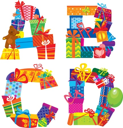 Abcd - English Alphabet - Letters Are Made Of Gift Boxes And Presents Vector