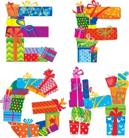 write abc: EFGH - Alfabeto Ingl�s - letras est�n hechas de cajas de regalo y Regalos
