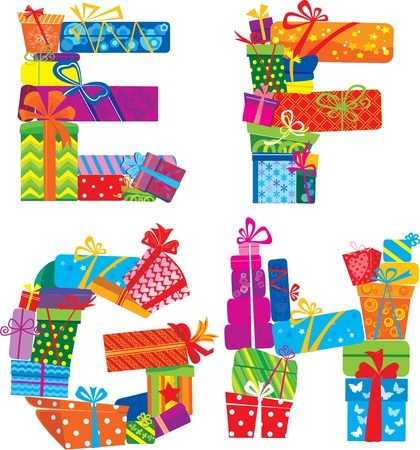 Efgh - English Alphabet - Letters Are Made Of Gift Boxes And Presents Vector