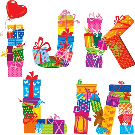 IJKLM - English Alphabet - Letters Are Made Of Gift Boxes And Presents Vector