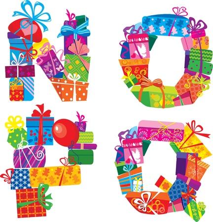 write abc: Nopq - Alfabeto Ingl�s - letras est�n hechas de cajas de regalo y Regalos