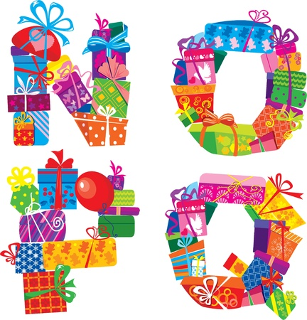 NOPQ - English Alphabet - Letters Are Made Of Gift Boxes And Presents Vector