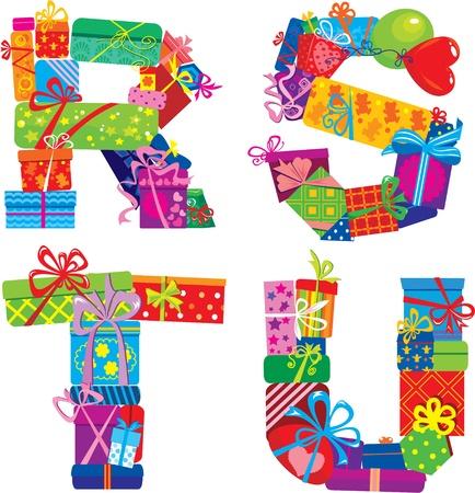 write abc: Rstu - Alfabeto Ingl�s - letras est�n hechas de cajas de regalo Vectores