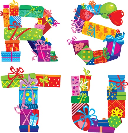 kids abc: Rstu - Alfabeto Ingl�s - letras est�n hechas de cajas de regalo Vectores