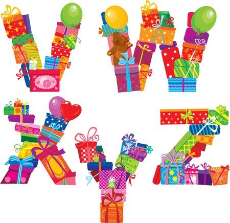 write abc: VWXYZ - alfabeto Ingl�s - letras est�n hechas de cajas de regalo Vectores