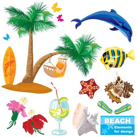 summer beach elements set Stock Vector - 14228642