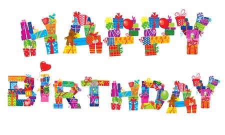 persona alegre: feliz cumpleaños, letras están hechas de cajas de regalo diferente y presenta