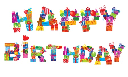 happy birthday, letters are made of different gift boxes and presents Stock Vector - 14228645