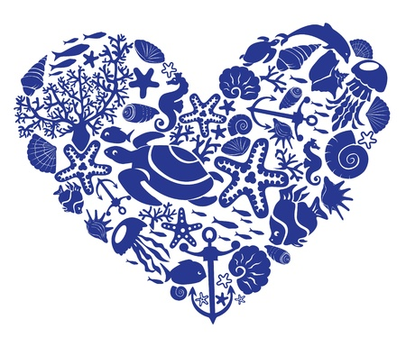 seestern: Herz wird von Fischen, Muscheln, Delfinen, Seepferdchen, Tortillas gemacht Illustration