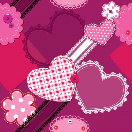 Scrap vintage hearts and laces seamless pattern Vector