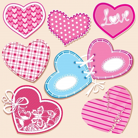 stitched: Scrapbook set of hearts in stitched textile style