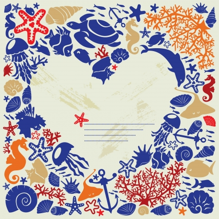 Background heart is surrounded of fishes, dolphins, shells, corals, meduses, seahorses Vector