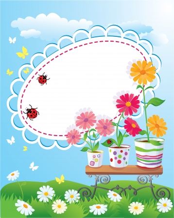 Summer frame with flowers in pots, ladybirds and butterflies Stock Vector - 14295563