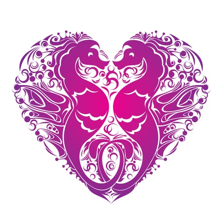 hippocampus: A heart is made of Couple of seahorses Illustration