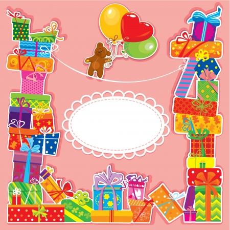 teddy bear: carte d'anniversaire b�b� avec ours en peluche et bo�tes cadeau