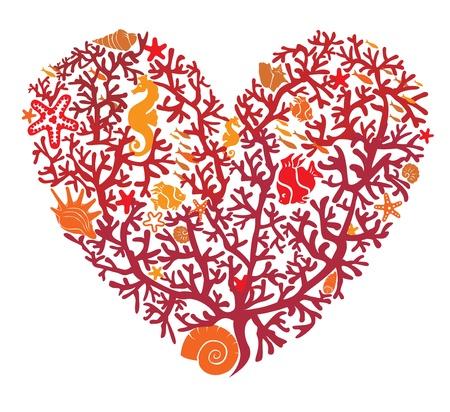 Serce składa się z korali, na białym tle