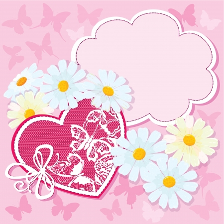 Heart and daisies on a pink background with butterflies. valentine card Vector