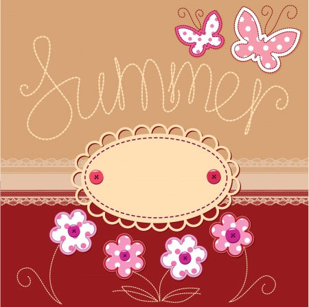 Romantic summer card with laces, butterflies and flowers Vector