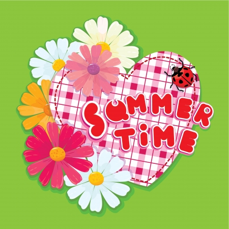 Checkered Heart, ladybird and daisies on a green background. Vector