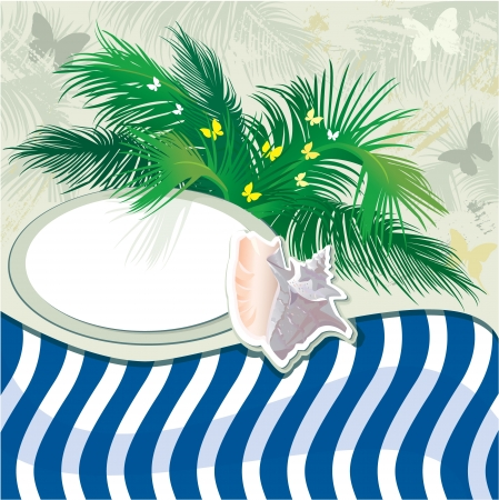 Grunge summer holiday background with palm tree and shell Vector