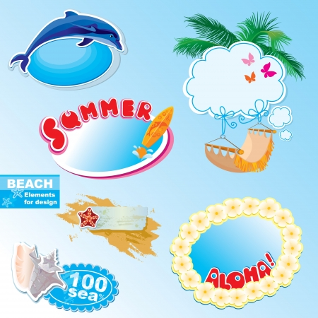 summer beach frames and elements set Vector