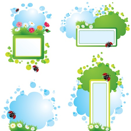Set of summer backgrounds and frames with grass, flowers and ladybirds Vector