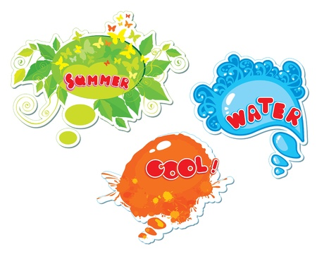 Set of summer speech bubbles formed from water, butterflies, leafs, blots Stock Vector - 14480025