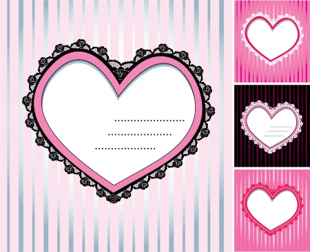 set of 4 hearts shape lace doily on stripe background Vector