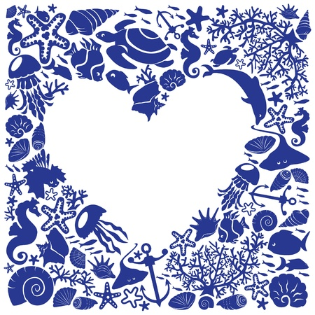 White background heart is surrounded of fishes, dolphins, shells, corals, seahorses Vector