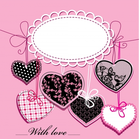 crochet: holiday background with black and pink ornamental hearts and oval frame for your text
