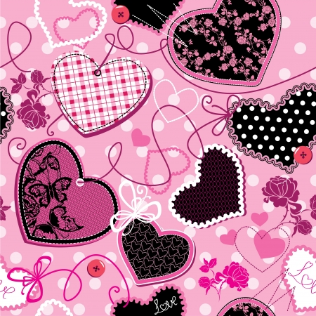 black lace: Pink and black Hearts on a pink background - seamless pattern Illustration