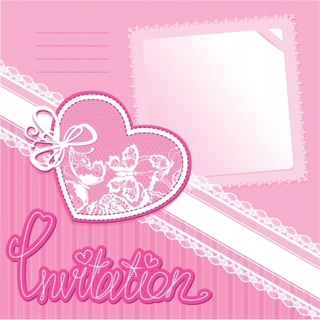 Heart and piace of paper on a pink background - invitation card Stock Vector - 14563739