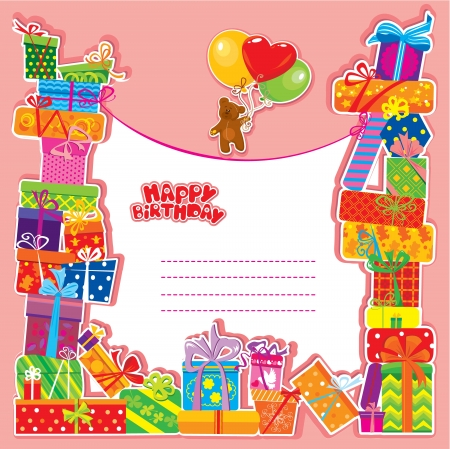 cute text box: baby birthday card with teddy bear and gift boxes Illustration