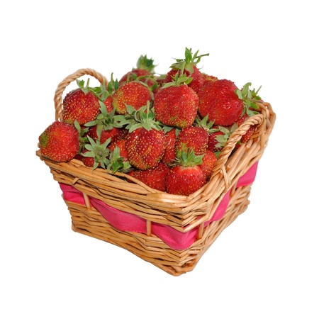 Appetizing strawberries in a basket. Isolated on a white background Stock Photo - 14629264