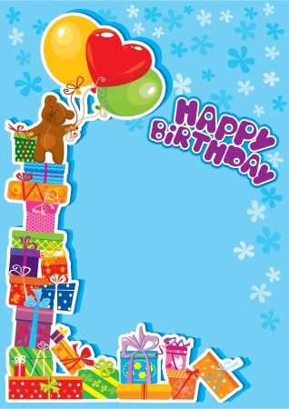 baby boy birthday card with teddy bear and gift boxes Vector
