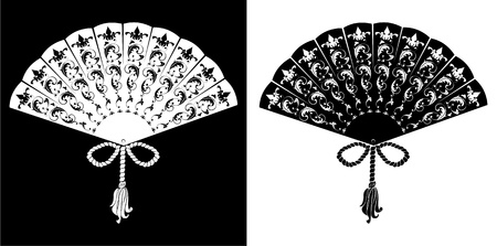 antique asian: Fan - vintage illustration - silhouettes on black and white background