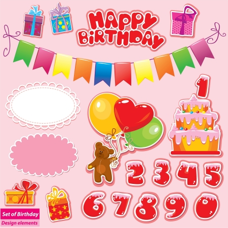 Set of Birthday Party Elements for your design with Teddy Bear, Cake, gift boxes, numerals Vectores