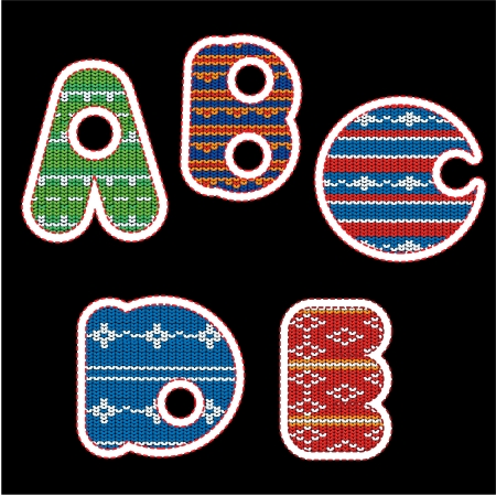 knitted alphabet - ABCDE Illustration