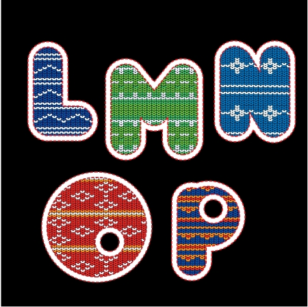 knitted alphabet - LMNOP Vector