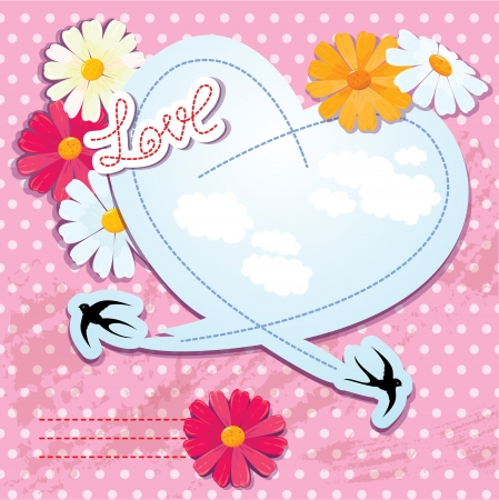 Valentines day card with heart and swallows Stock Vector - 15032097