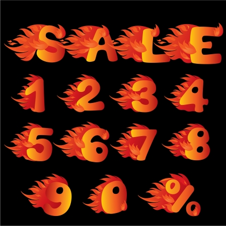 Flaming Numbers, percent symbol and word SALE Stock Vector - 15032091