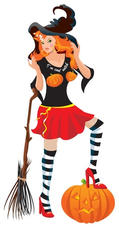 Halloween red haired witch dressing cool T-shirt with pumpkin and broom Stock Vector - 15032093