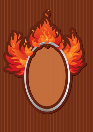 Oval frame with spurts of flame on stripe dark background Vector