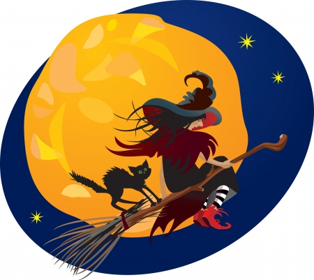 flying hat: Halloween night: witch and black cat flying on broom on moon background