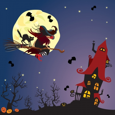 Halloween night: witch and black cat flying on broom to mystery house on moon background Illustration